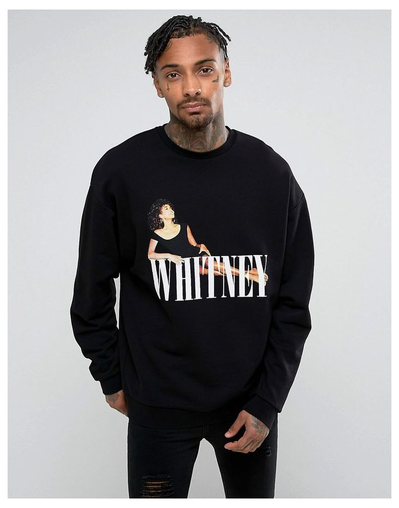 ASOS Oversized Sweatshirt With Whitney Houston Print - Black