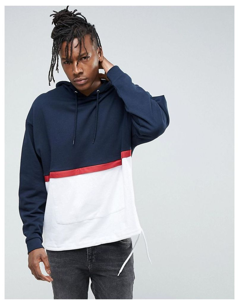 ASOS Cut & Sew Oversized Hoodie With Drawcord Hem - Navy