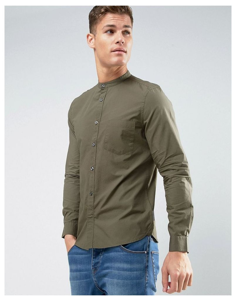 French Connection Slim Fit Grandad Shirt with Pocket - Green