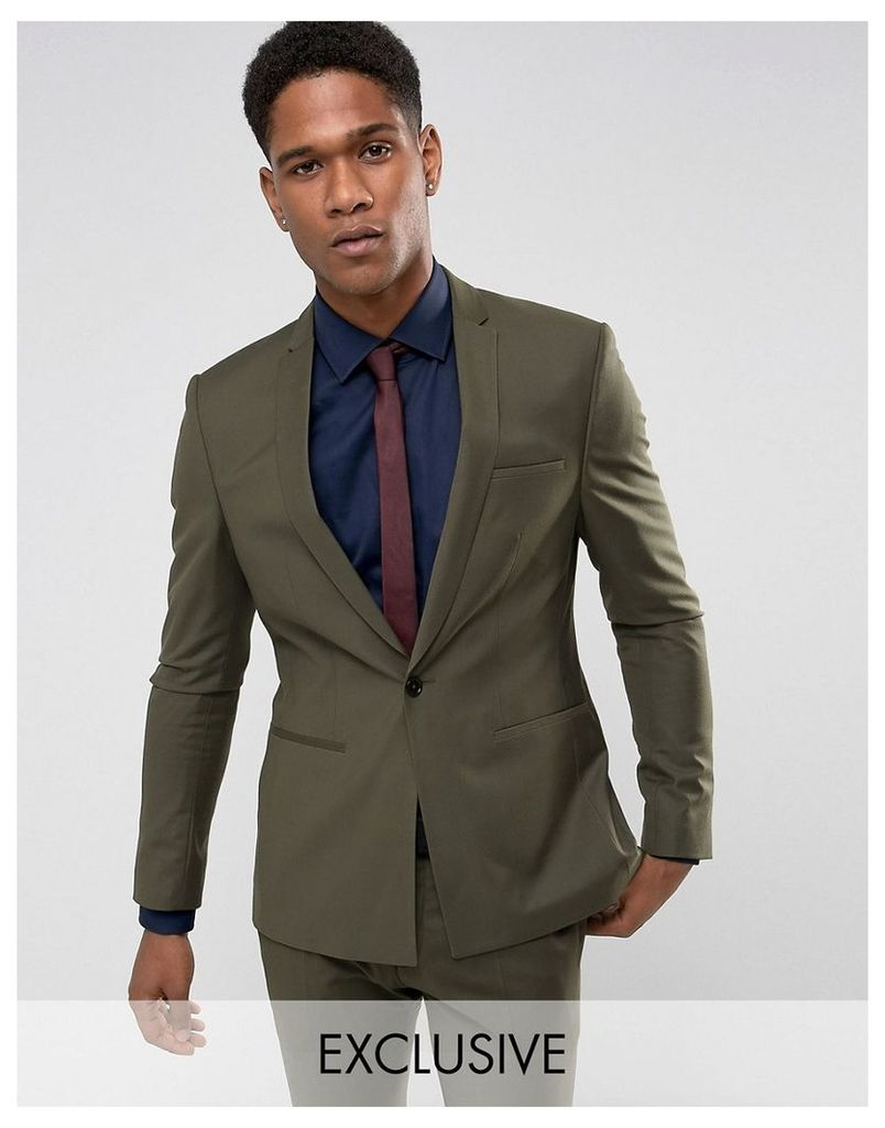 Noak Super Skinny Wedding Suit Jacket with Square Hem in Khaki - Khaki