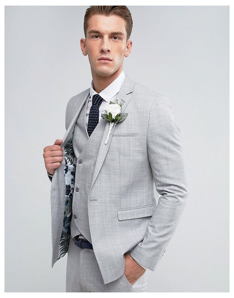 ASOS Wedding Skinny Suit Jacket in Crosshatch Nep In Light Grey With Floral Print Lining - Light grey