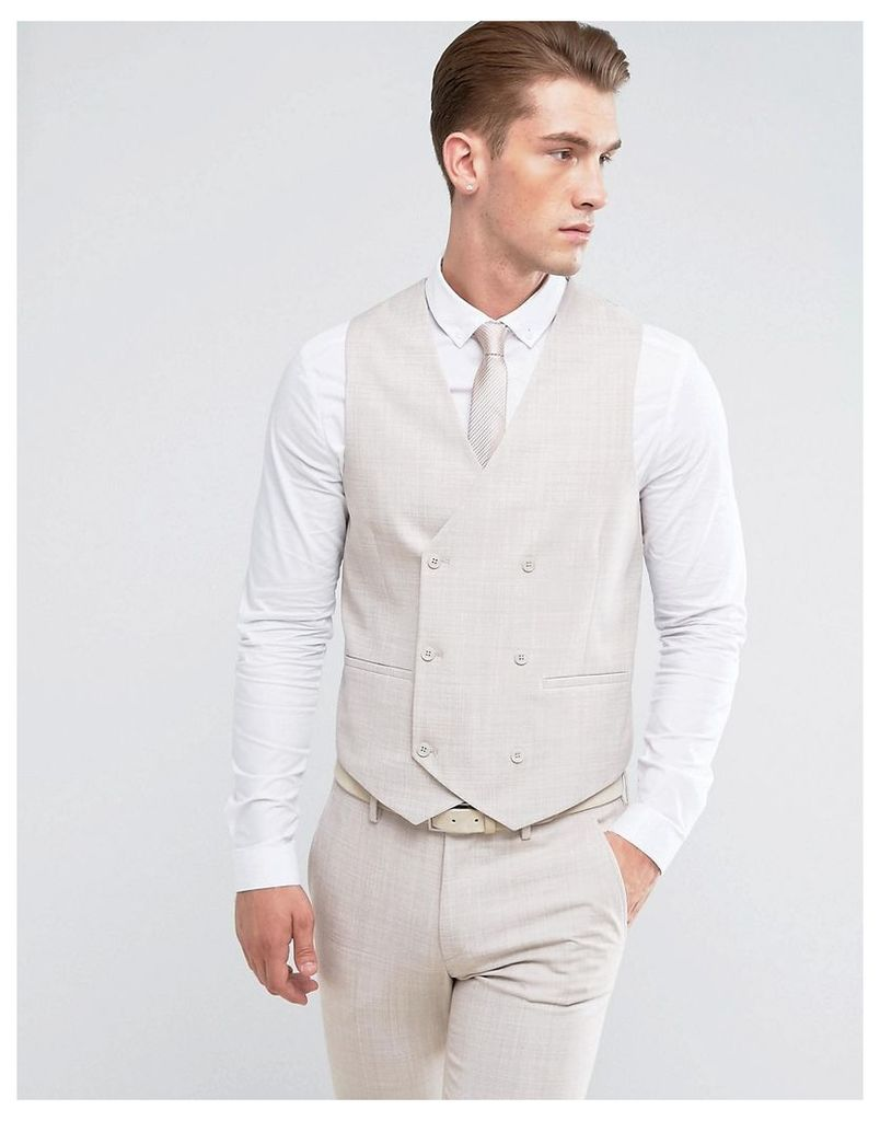 ASOS Wedding Skinny Suit Waistcoat in Crosshatch Nep In Putty With Floral Print Lining - Putty