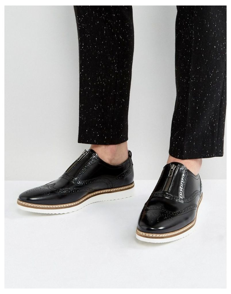 ASOS Brogue Shoes In Black Leather With Zip Detail - Black