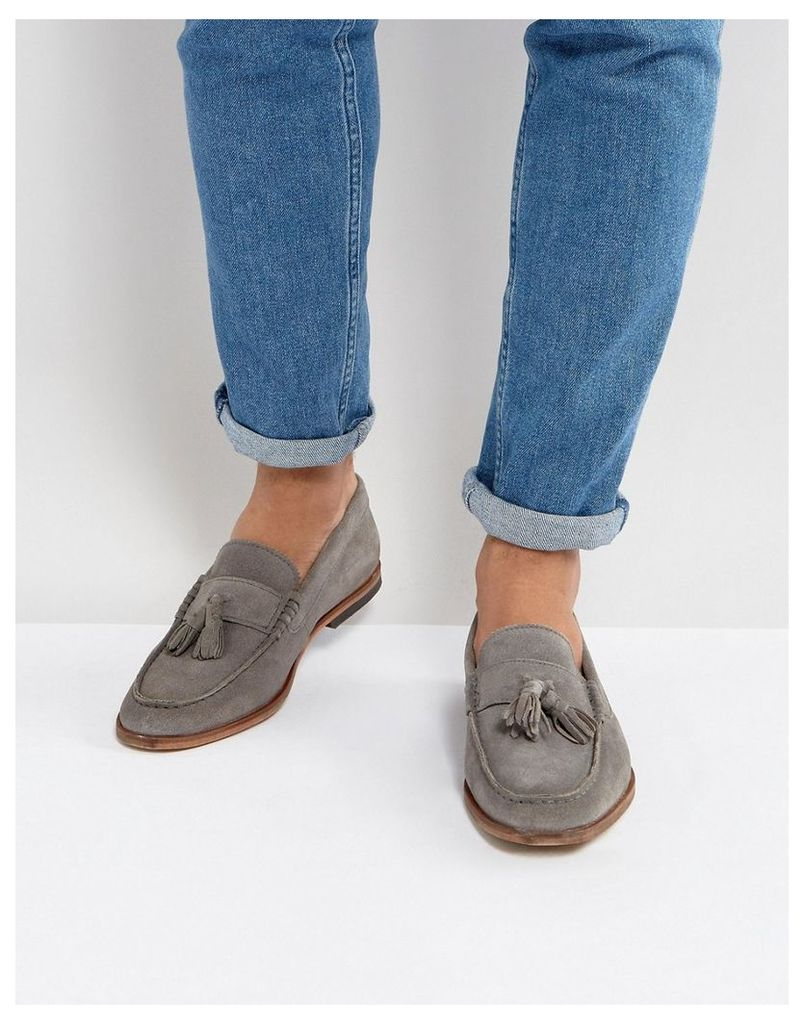ASOS Loafers In Grey Suede With Tassels - Grey
