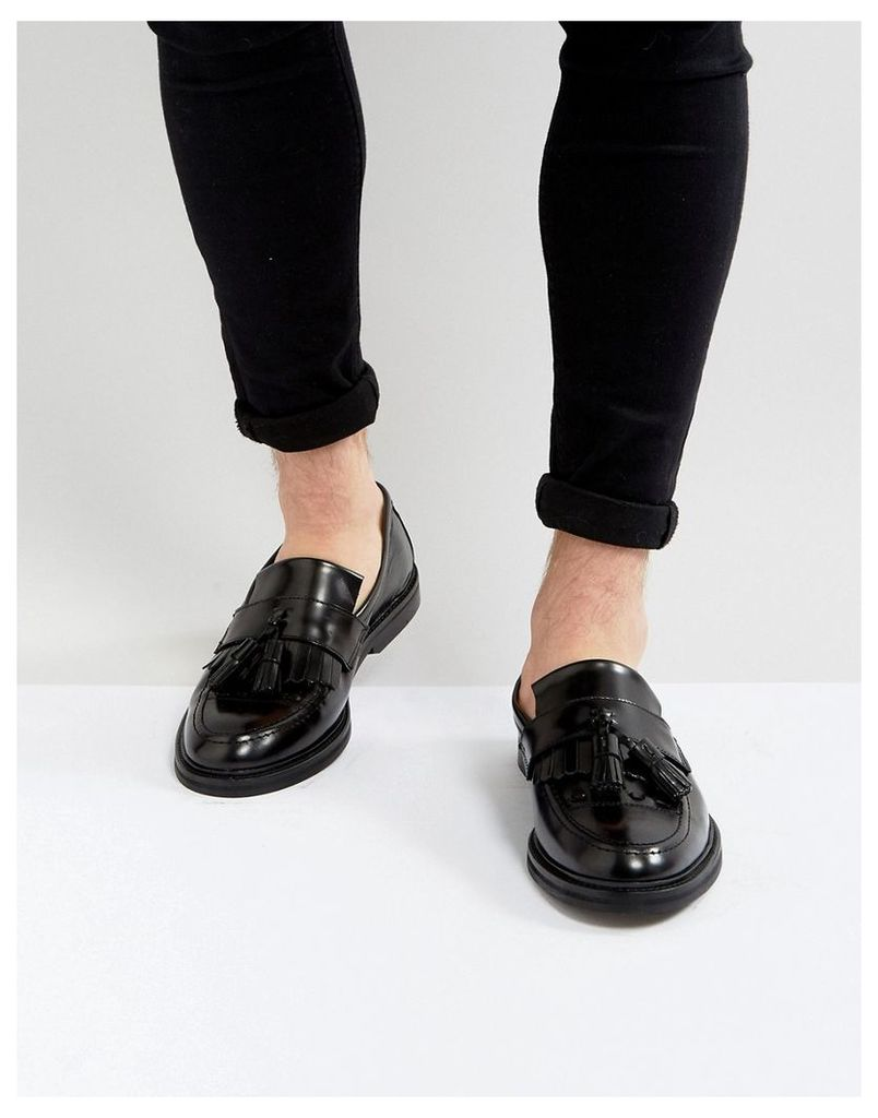 House Of Hounds Dexie Leather Tassle Loafers In Black - Black