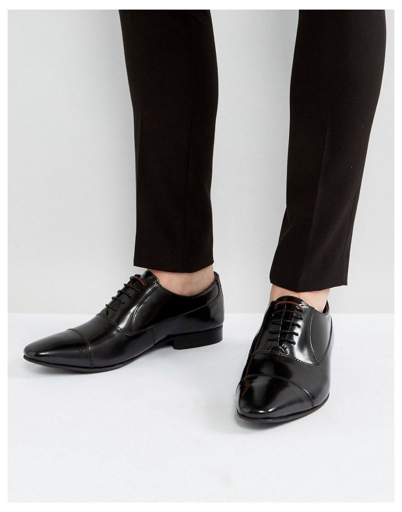 Walk London City Leather Oxford Shoes - Black