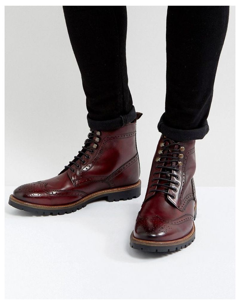 Base London Troop Leather Lace Up Boots In Red - Red