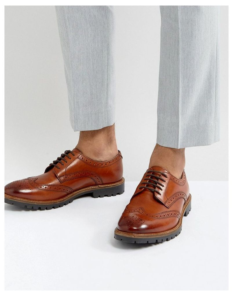 Base London Trench Leather Brogue Shoes In Tan - Tan