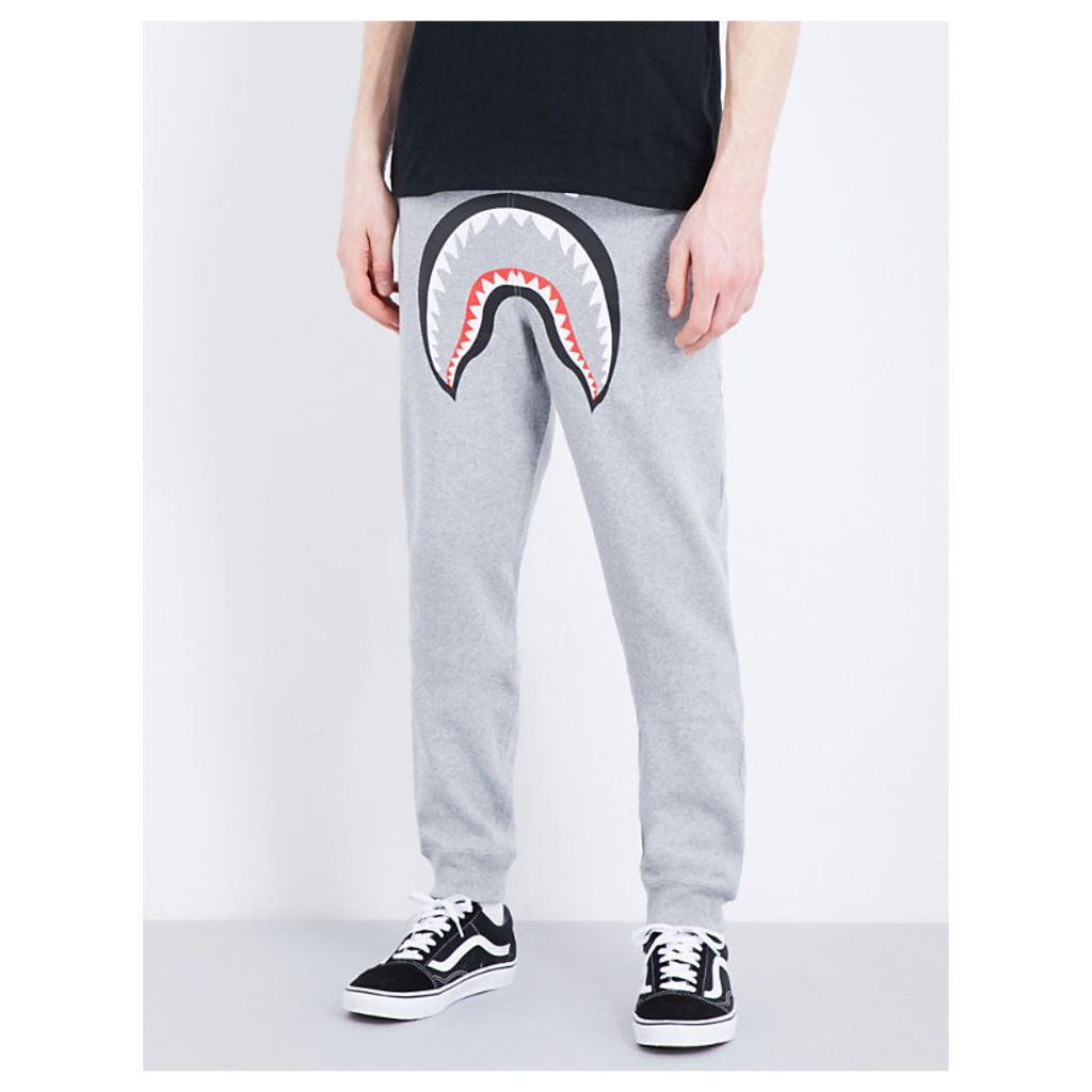 A Bathing Ape Shark cotton jogging bottoms, Mens, Size: S, Grey