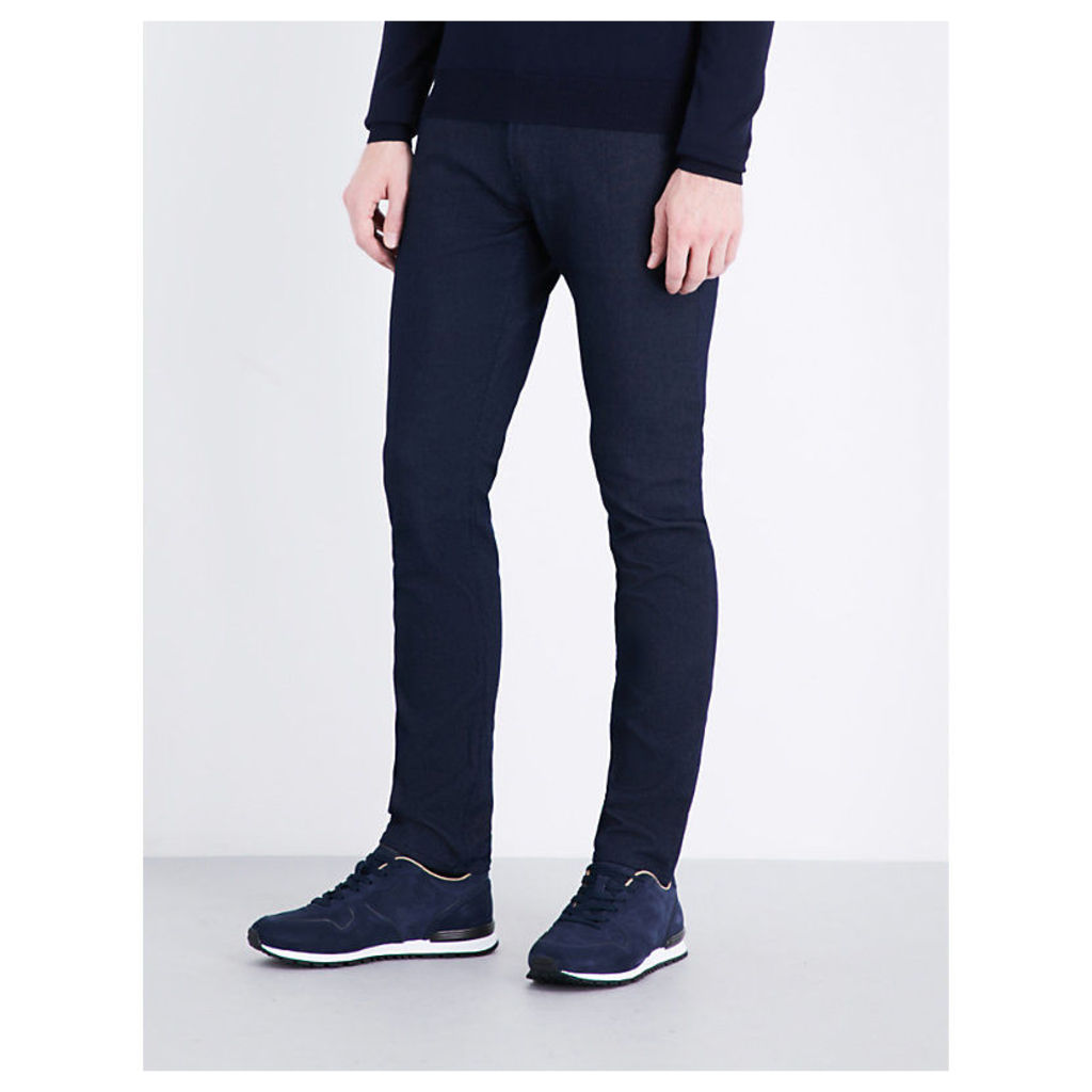 Pindot-pattern slim-fit tapered jeans