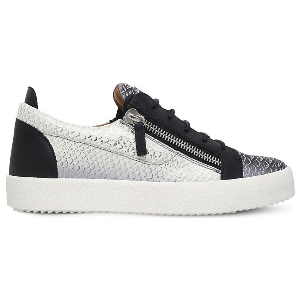 Giuseppe Zanotti Snake print leather low-top trainers, Mens, Size: EUR 42.5 / 8.5 UK MEN, Silver com