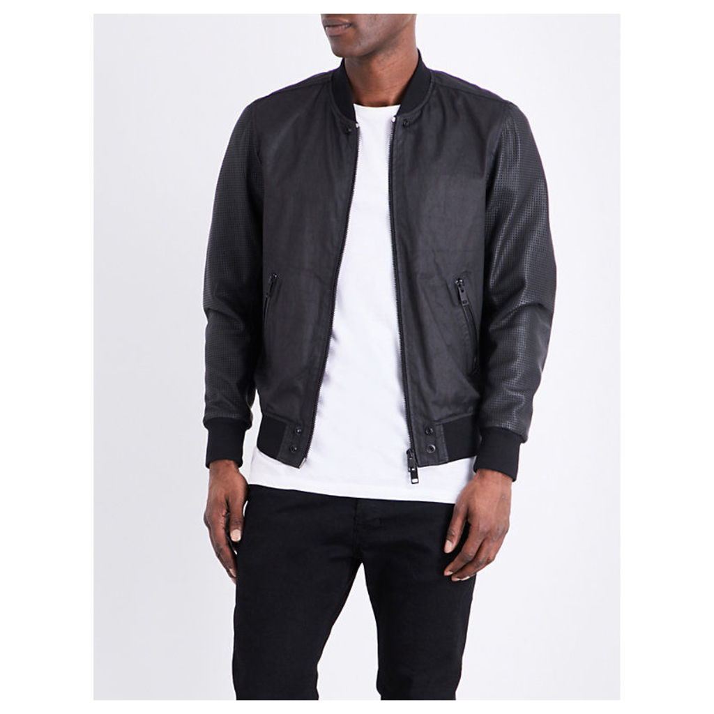Diesel L-Powell leather bomber jacket, Mens, Size: S, Black