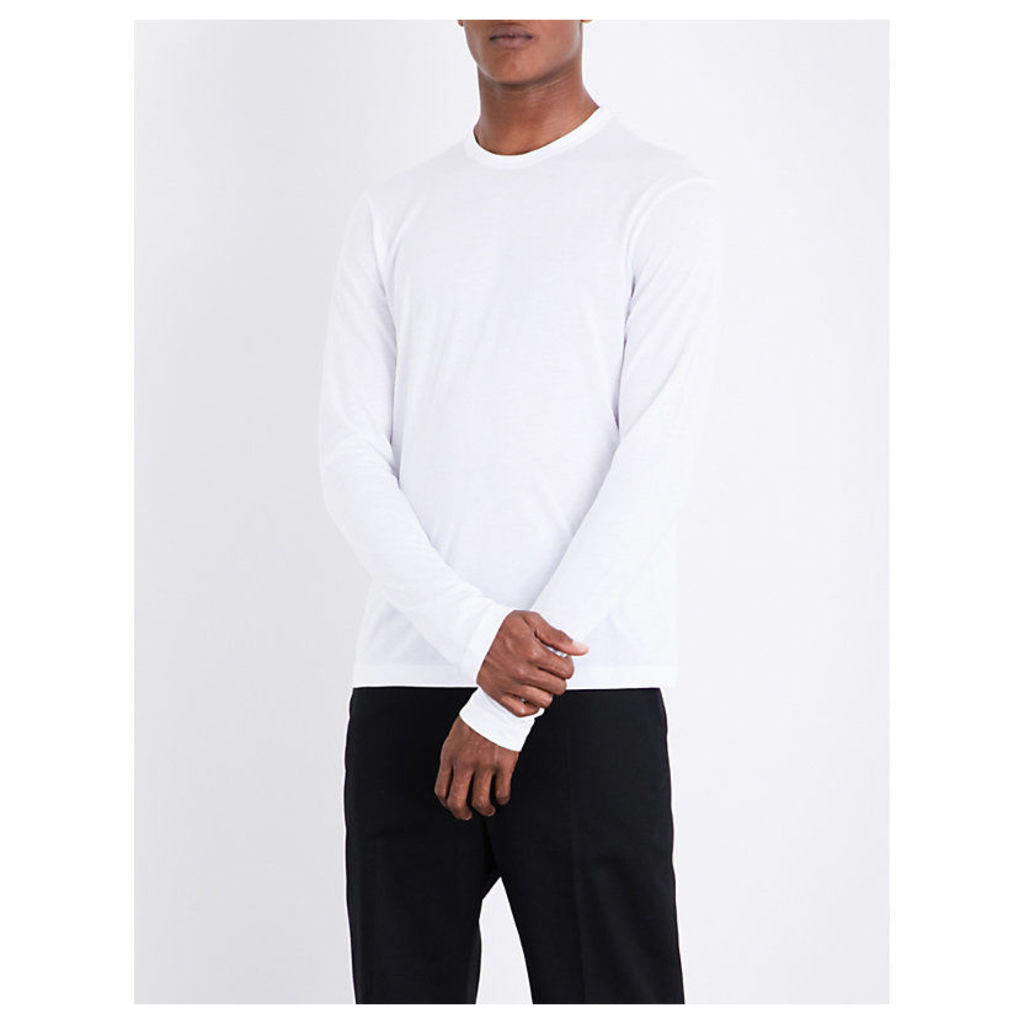 Crewneck cotton-blend top