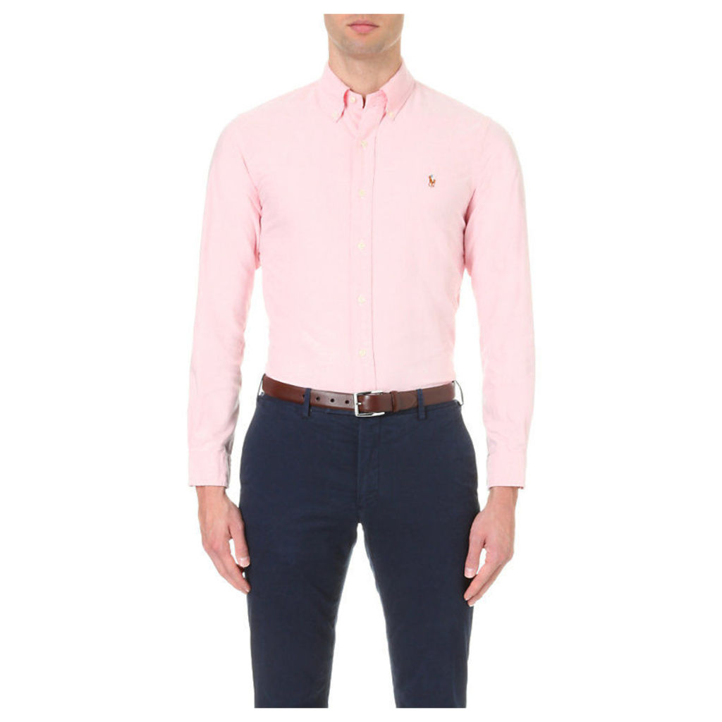 Polo Ralph Lauren Embroidered logo slim fit single cuff shirt, Mens, Size: Medium, Carmel pink
