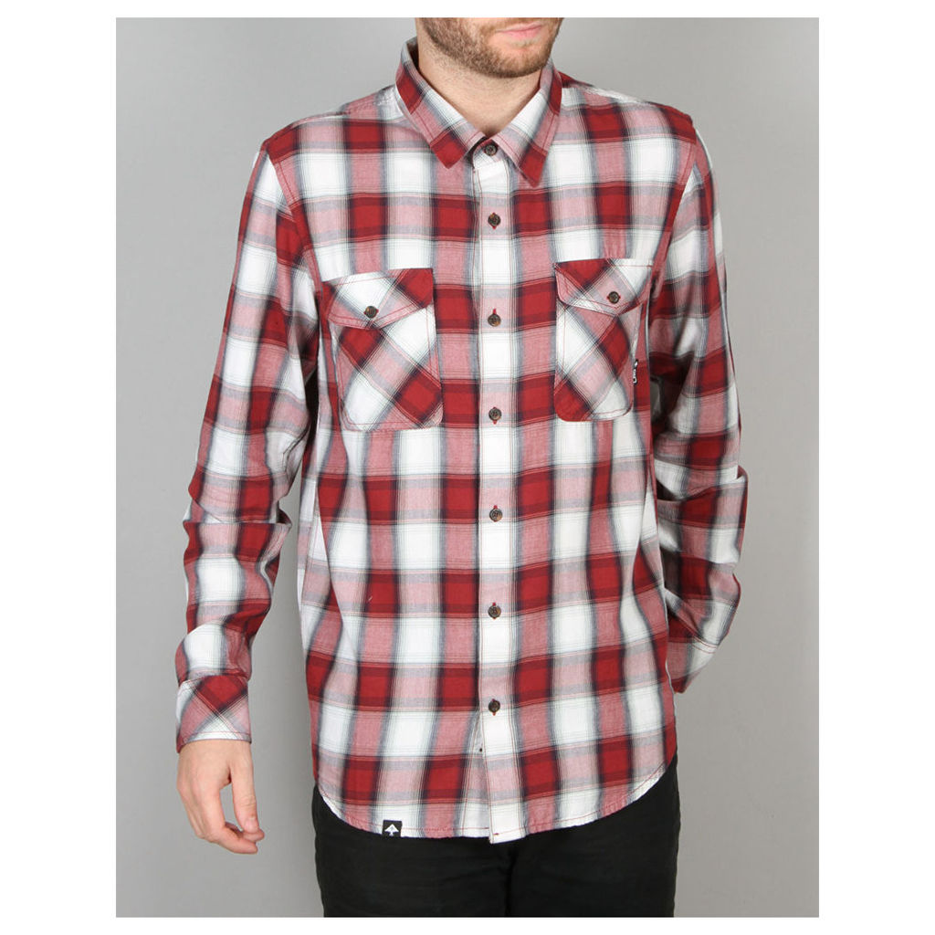 LRG Syndicate L/S Poplin Woven Shirt - Redskin Red (S)
