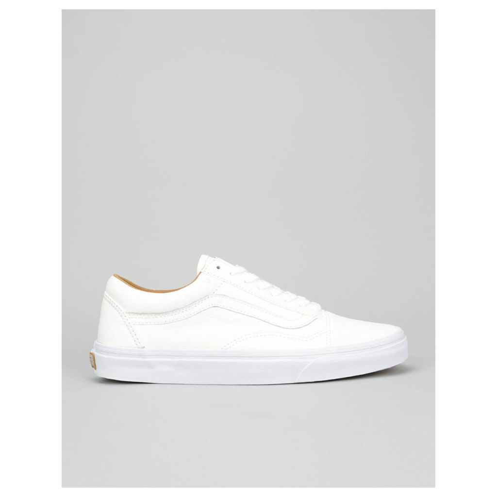 Vans Old Skool Skate Shoes - (Premium Leather) White (UK 12)