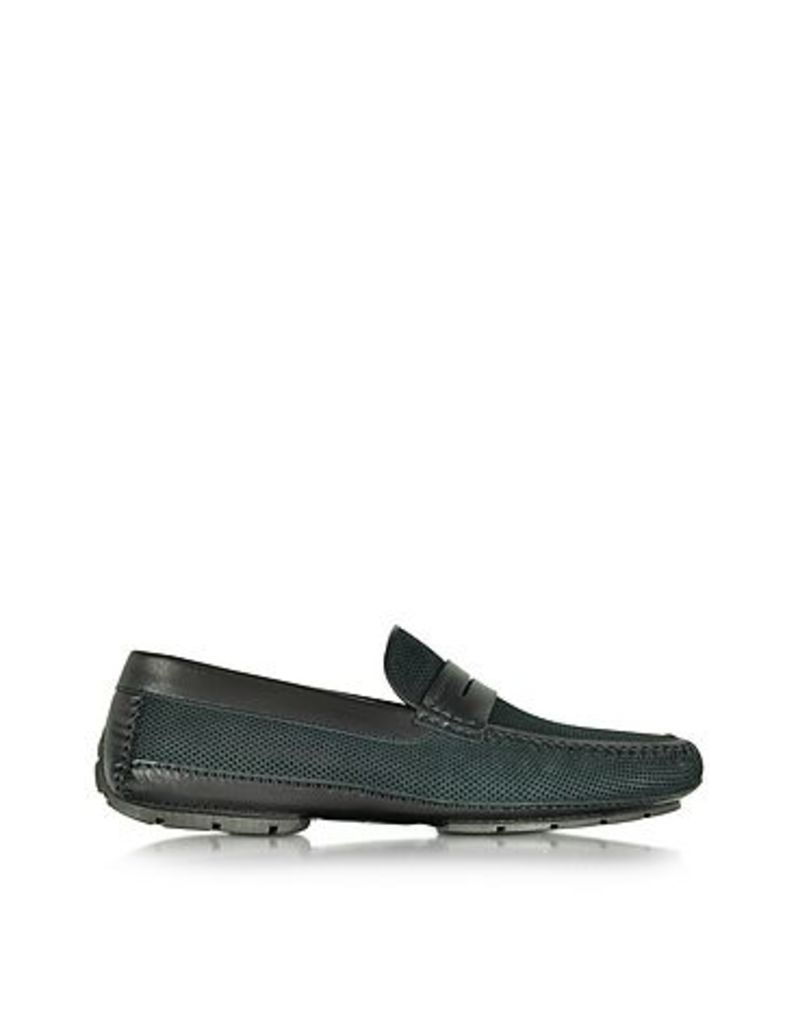Moreschi - Bahamas Black Perforated Nubuck Driver Shoes w/Rubber Sole