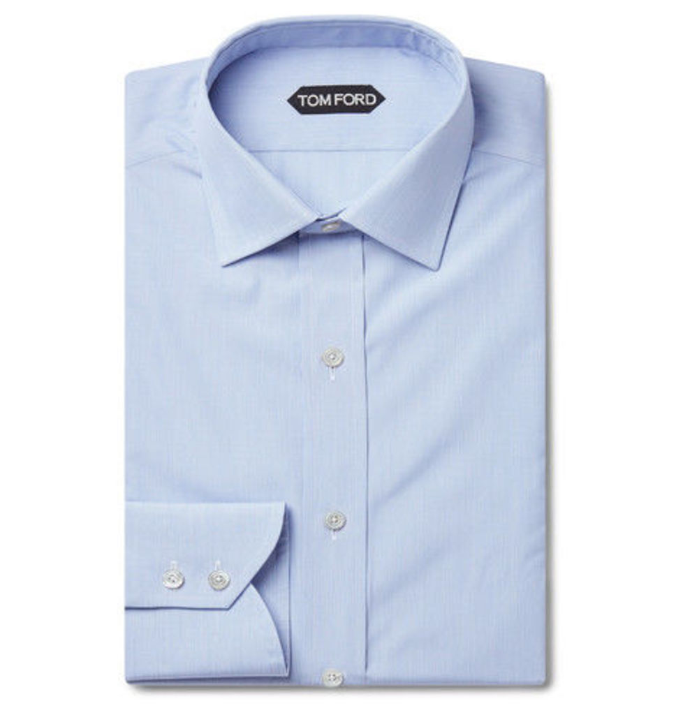 TOM FORD - Blue Slim-fit Striped Cotton Shirt - Blue