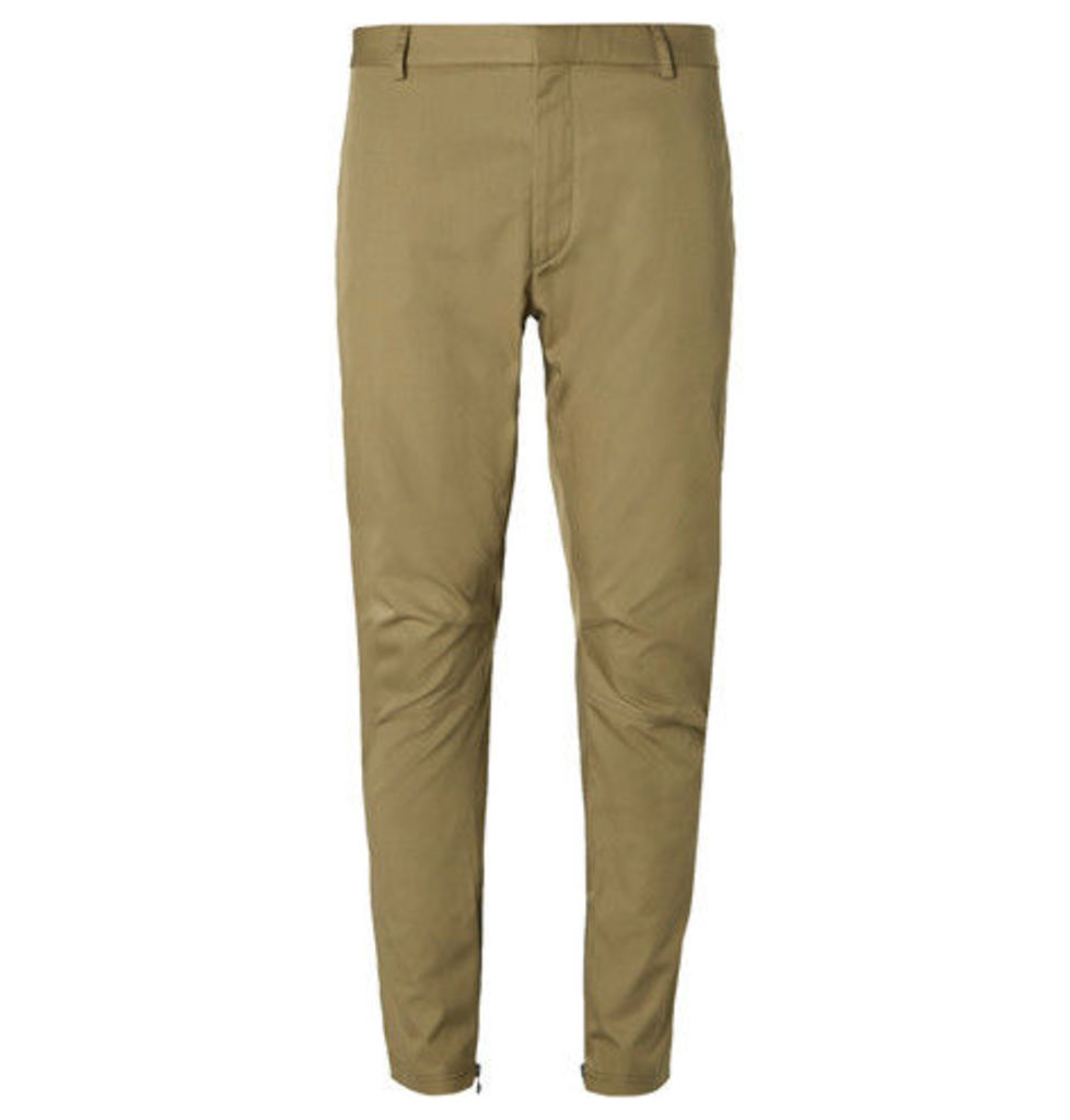 Lanvin - Tapered Cotton-twill Biker Trousers - Neutral
