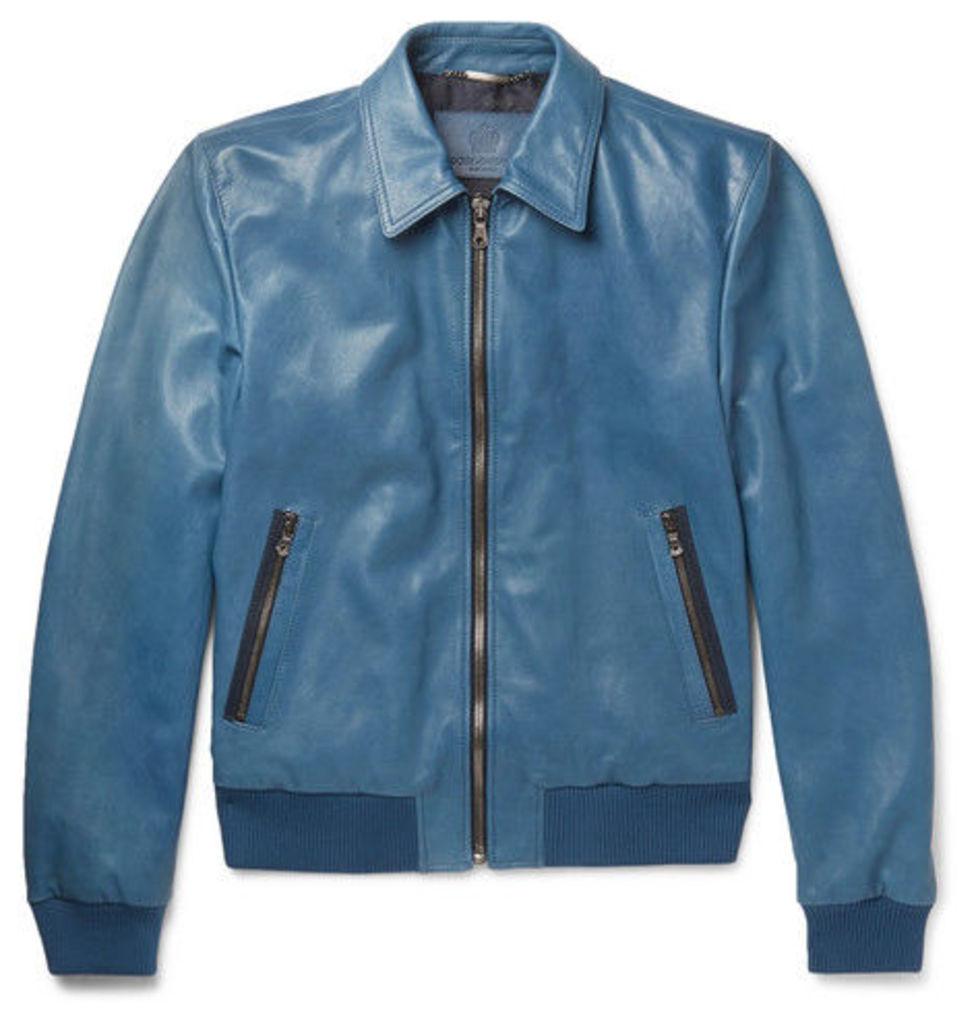 Dolce & Gabbana - Leather Bomber Jacket - Blue