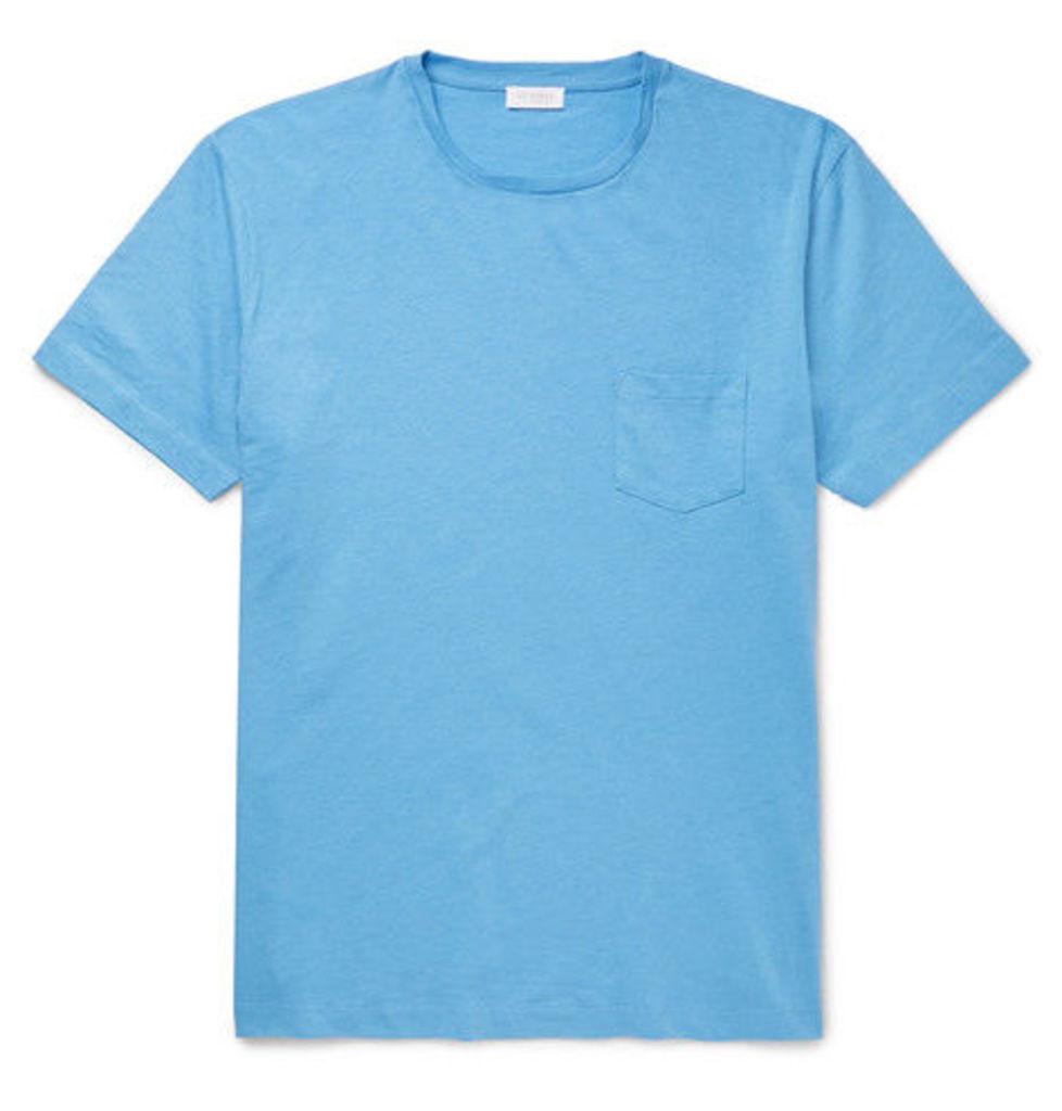 Sunspel - Slub Cotton-jersey T-shirt - Light blue