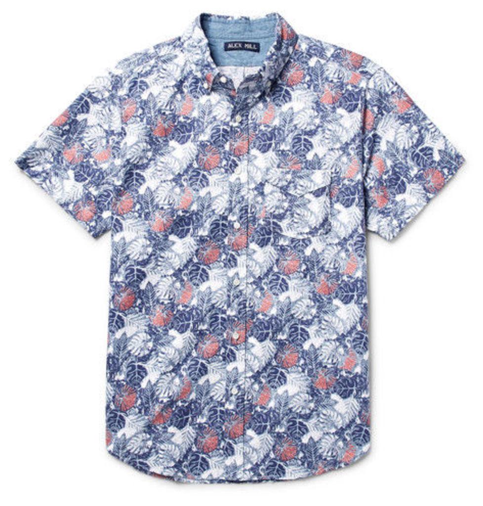 Alex Mill - Button-down Collar Palm Leaf-print Cotton Oxford Shirt - Blue