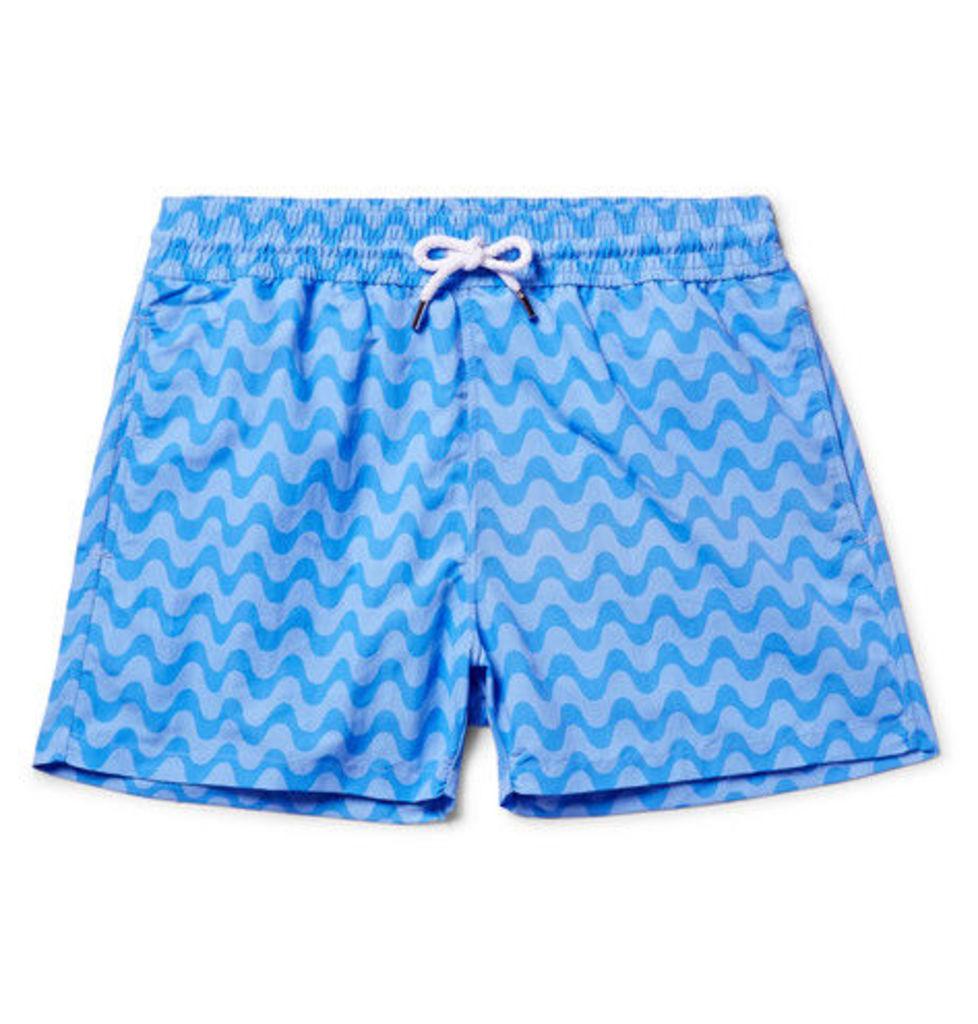 Frescobol Carioca - Copacabana Slim-fit Short-length Printed Swim Shorts - Blue