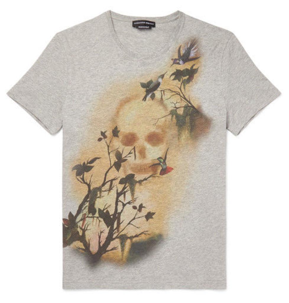 Alexander McQueen - Slim-fit Printed Cotton-jersey T-shirt - Gray