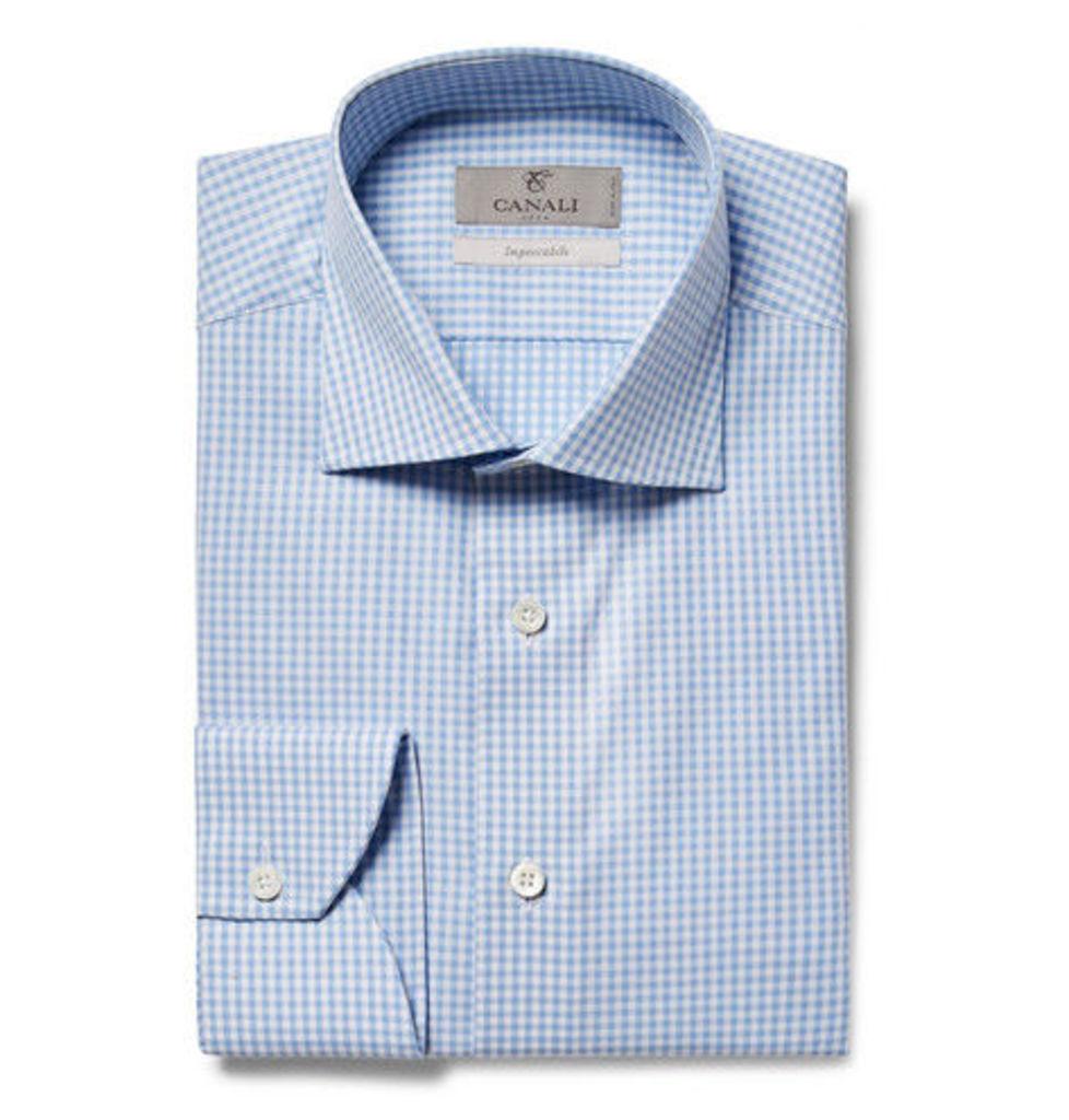 Canali - Blue Slim-fit Cutaway-collar Gingham Cotton-poplin Shirt - Light blue