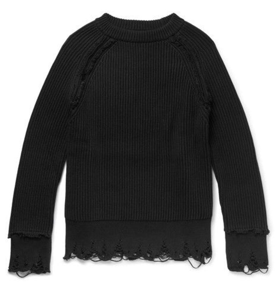 Haider Ackermann - Distressed Cotton And Cashmere-blend Sweater - Black