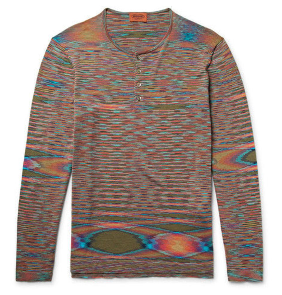 Missoni - Space-dyed Knitted Cotton Henley T-shirt - Orange