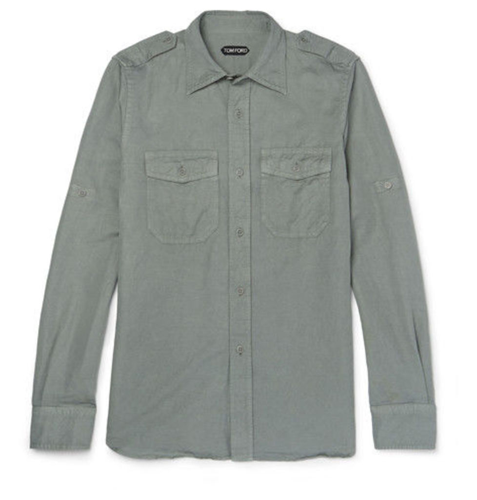 TOM FORD - Slim-fit Linen And Cotton-blend Shirt - Army green