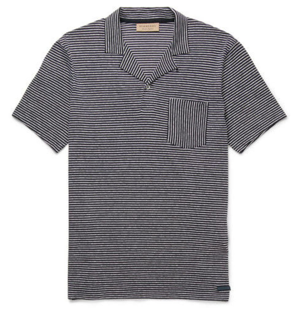 Burberry - Striped Cotton And Linen-blend Polo Shirt - Navy