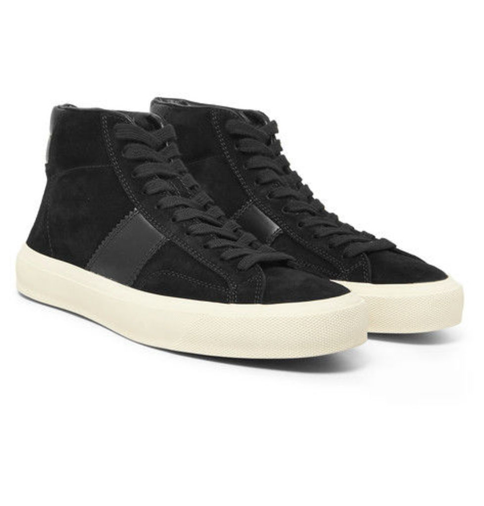 TOM FORD - Leather-panelled Suede High-top Sneakers - Black