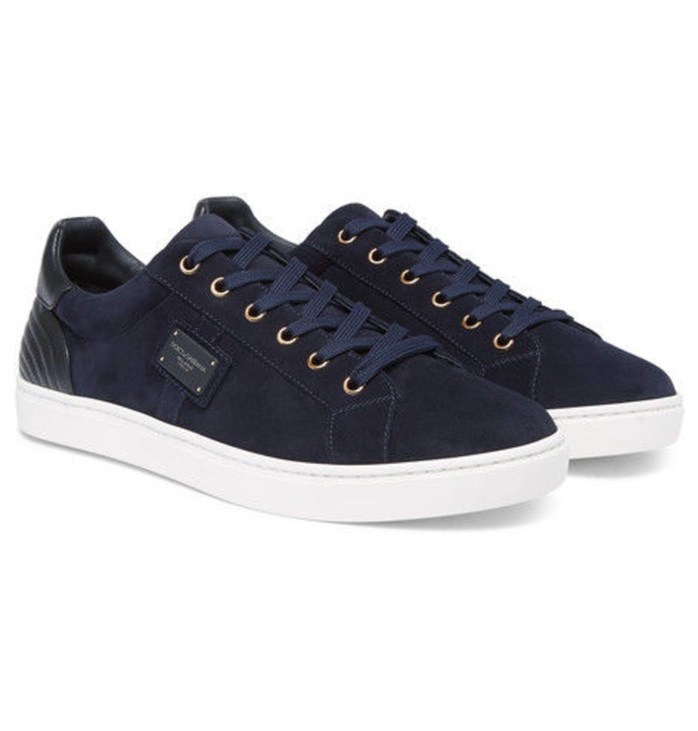 Dolce & Gabbana - London Leather-panelled Suede Sneakers - Navy