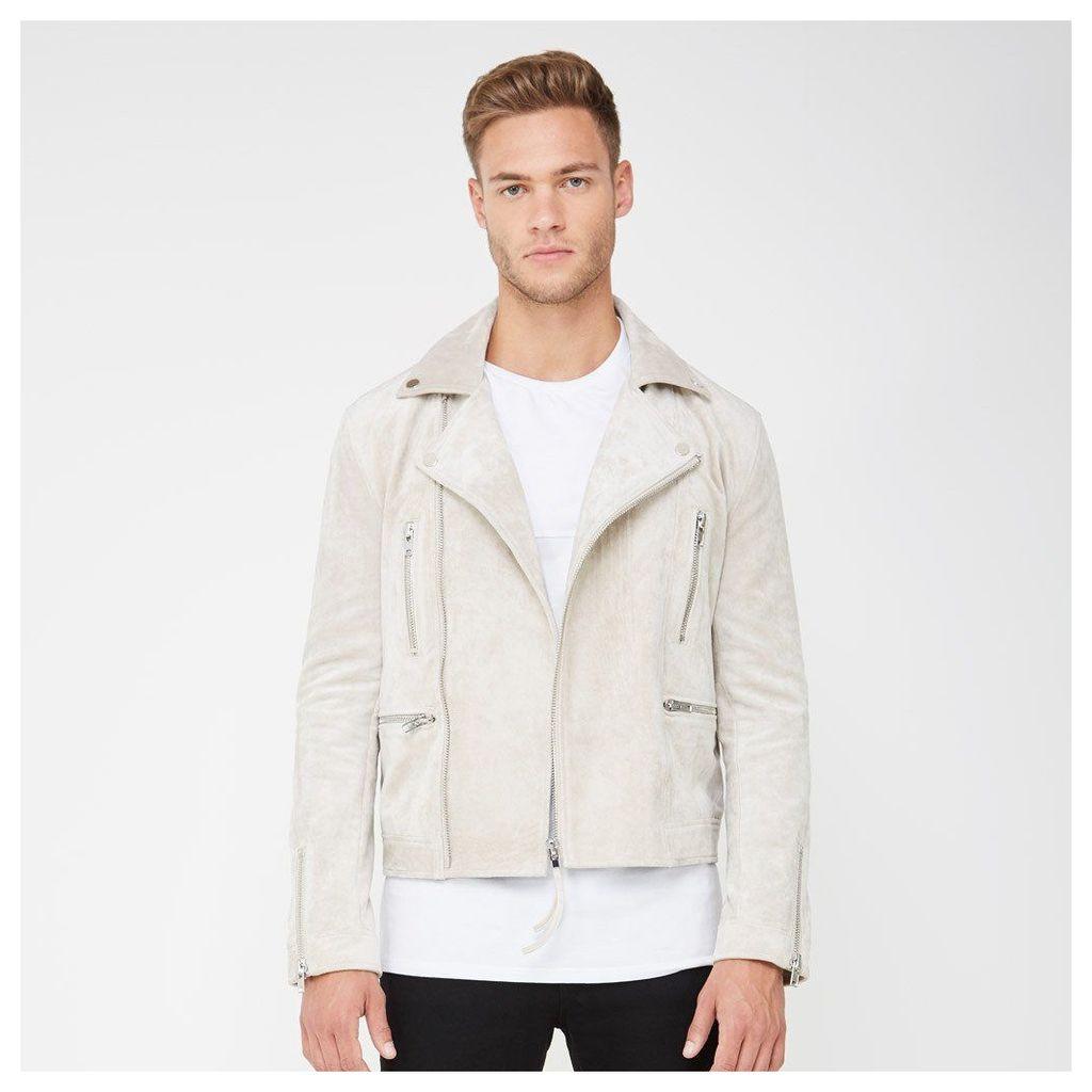 Suede Biker Jacket with Zip - Stone