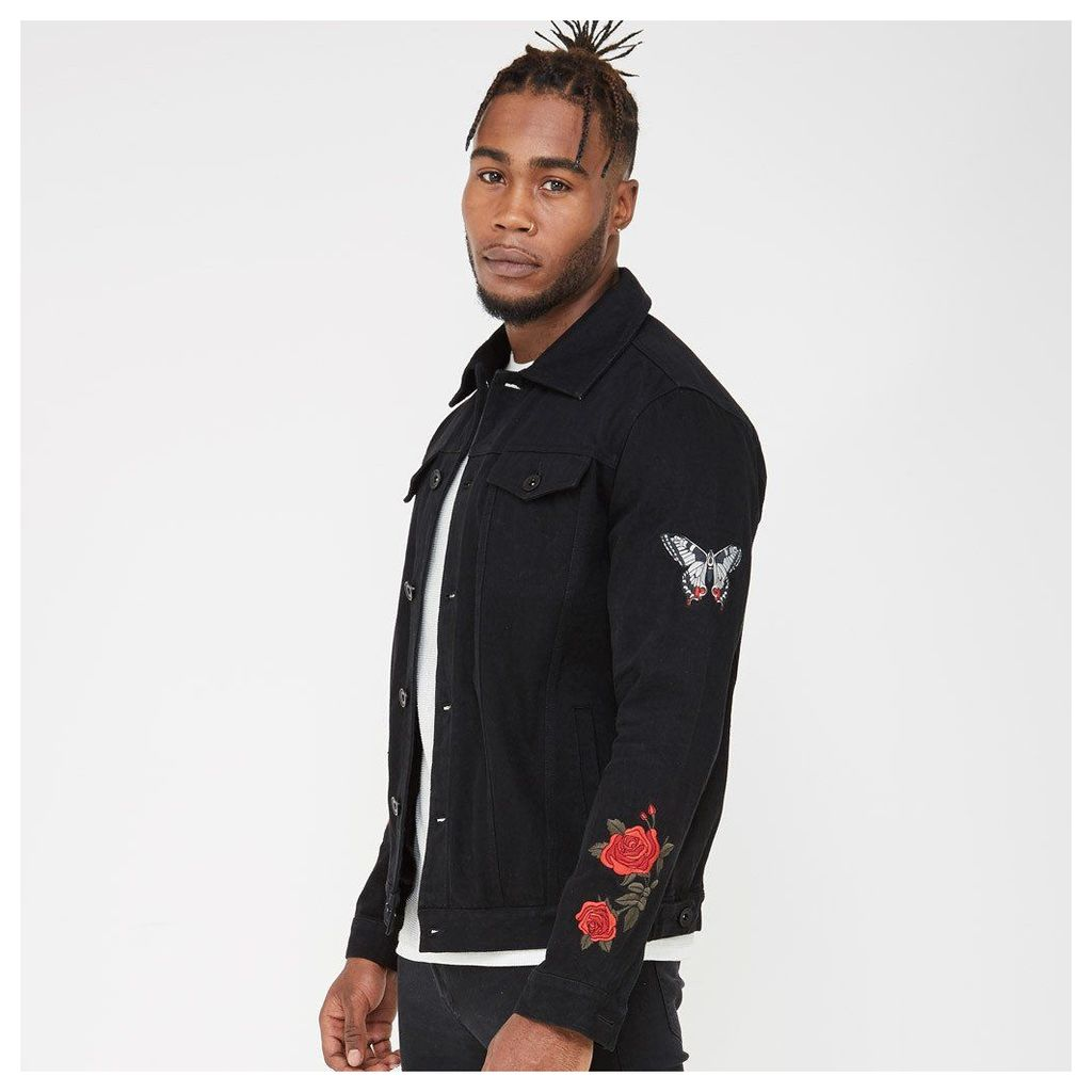 Embroidered Denim Jacket - Black