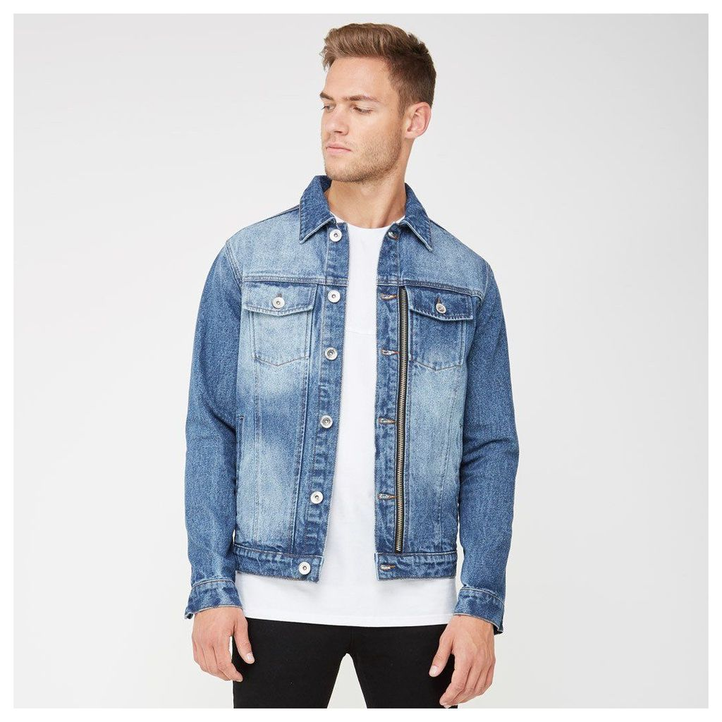 Zip Denim Jacket - Blue Denim