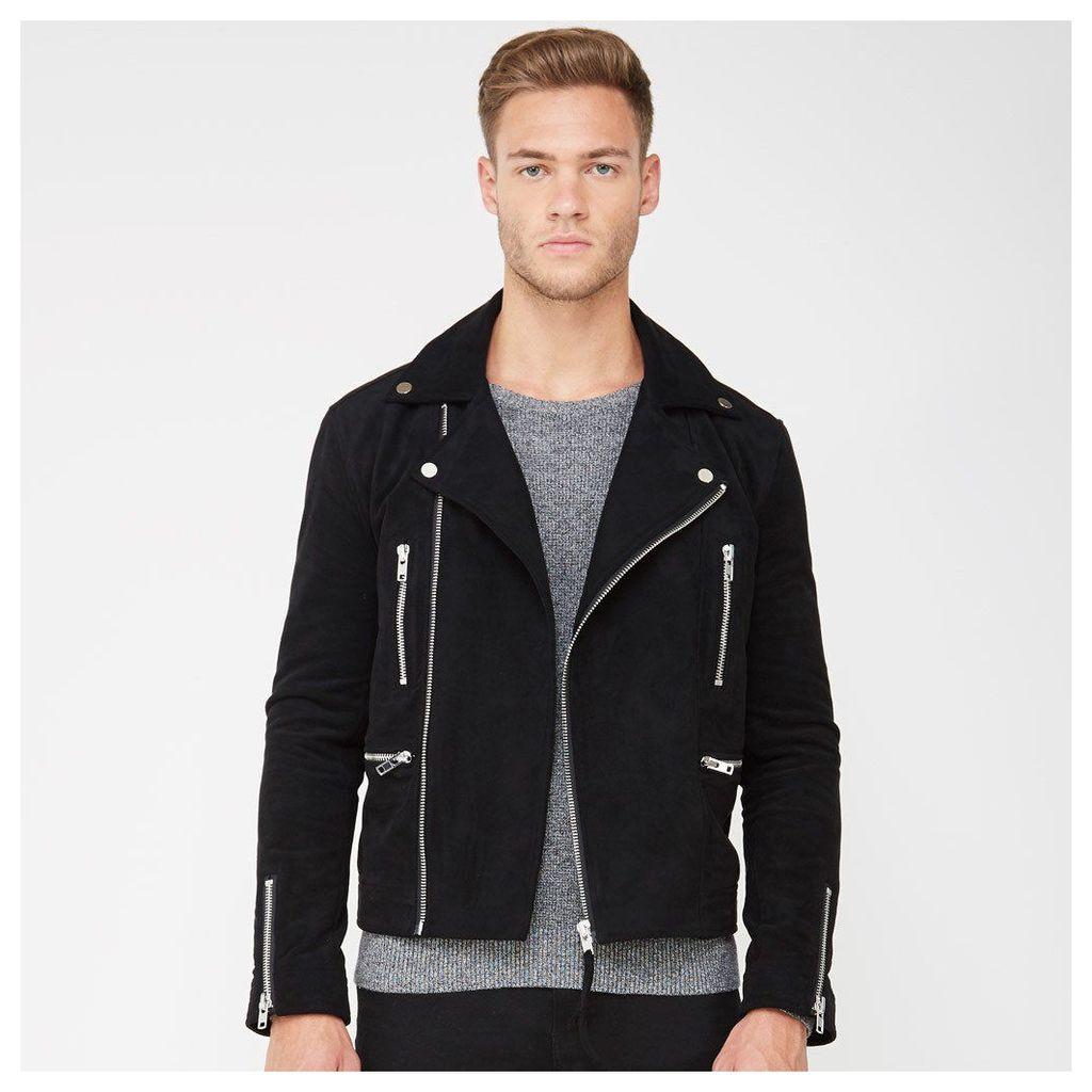 Suede Biker Jacket with Zip - Black