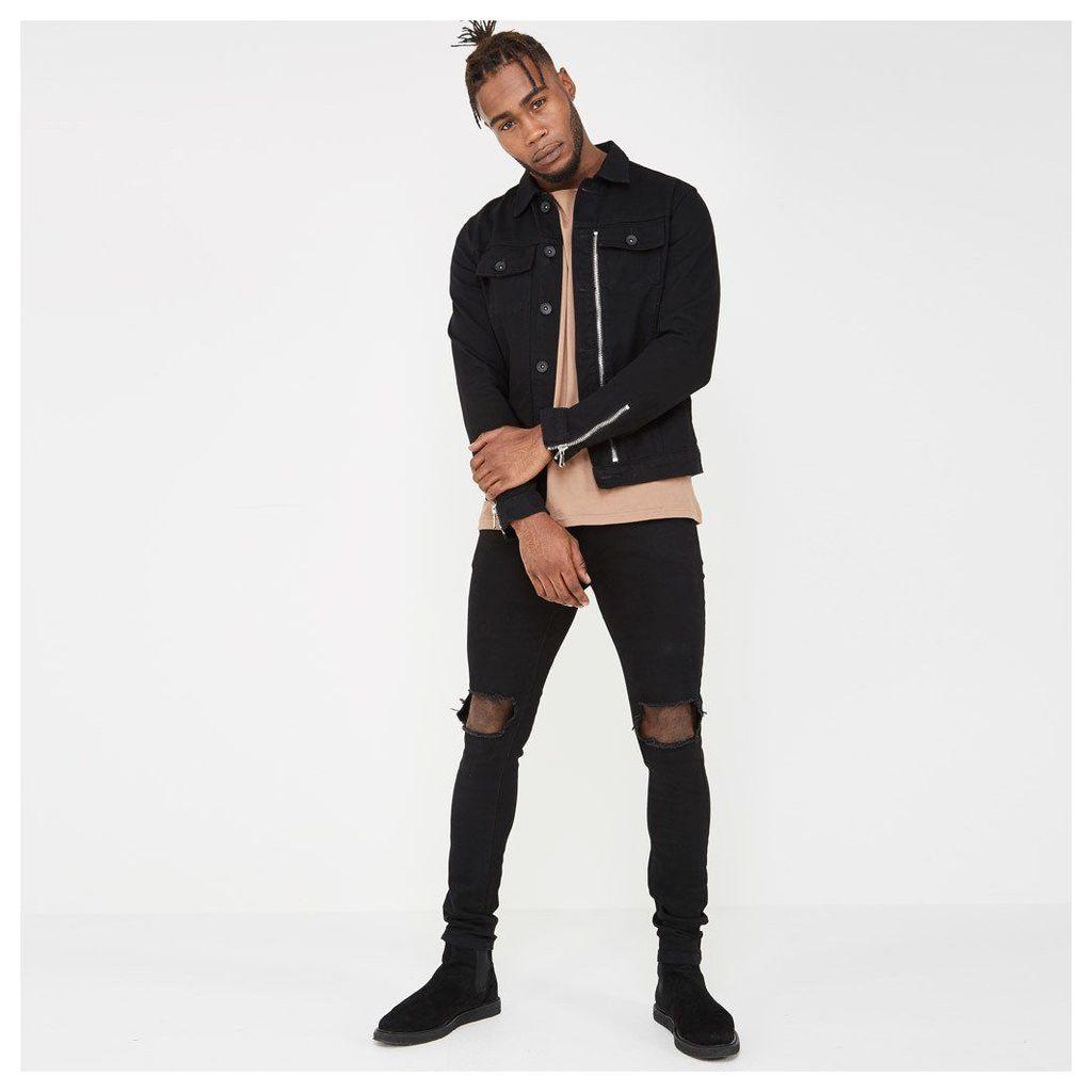 Zip Denim Jacket - Black