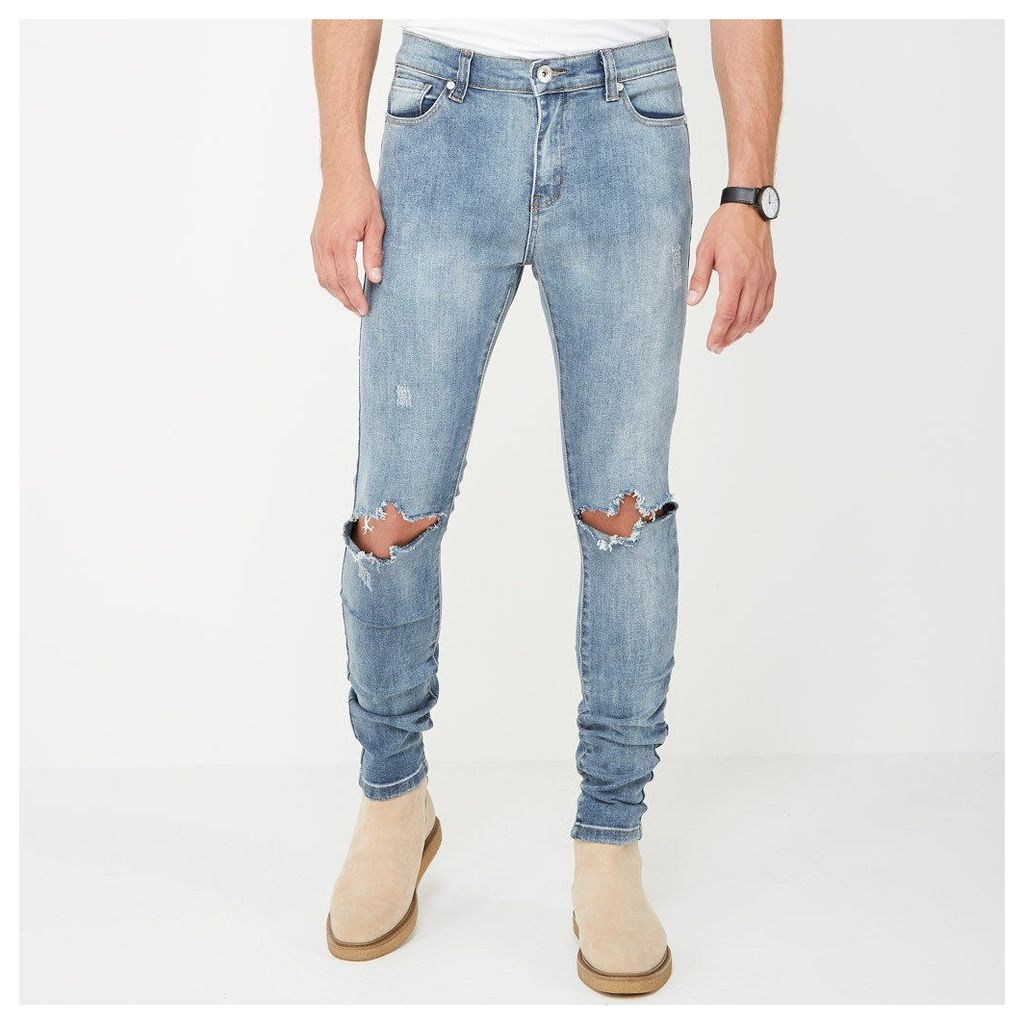 Ripped Knee Jeans - Mid Blue