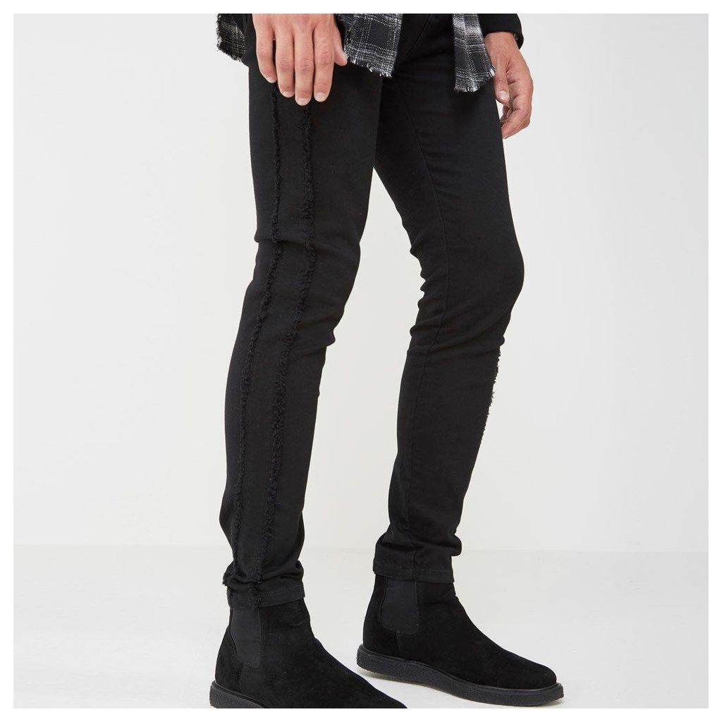 Distressed Side Seam Jeans - Black
