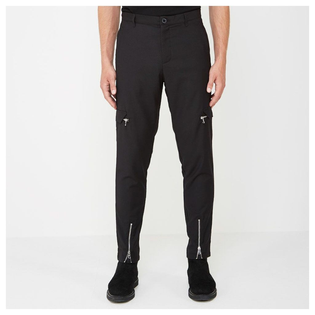 Cargo Trousers with Zip Front - Black