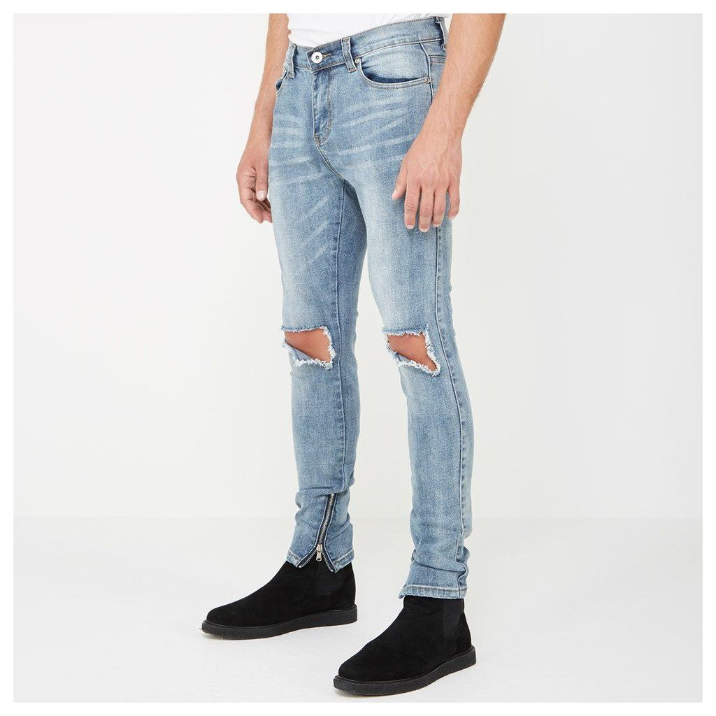 Distressed Jeans with Zips - Light Wash