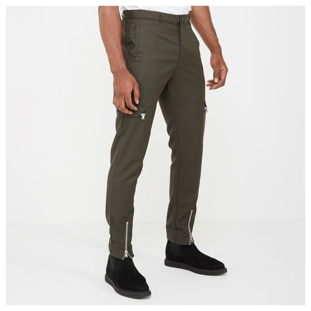 Cargo Trousers with Zip Front - Khaki