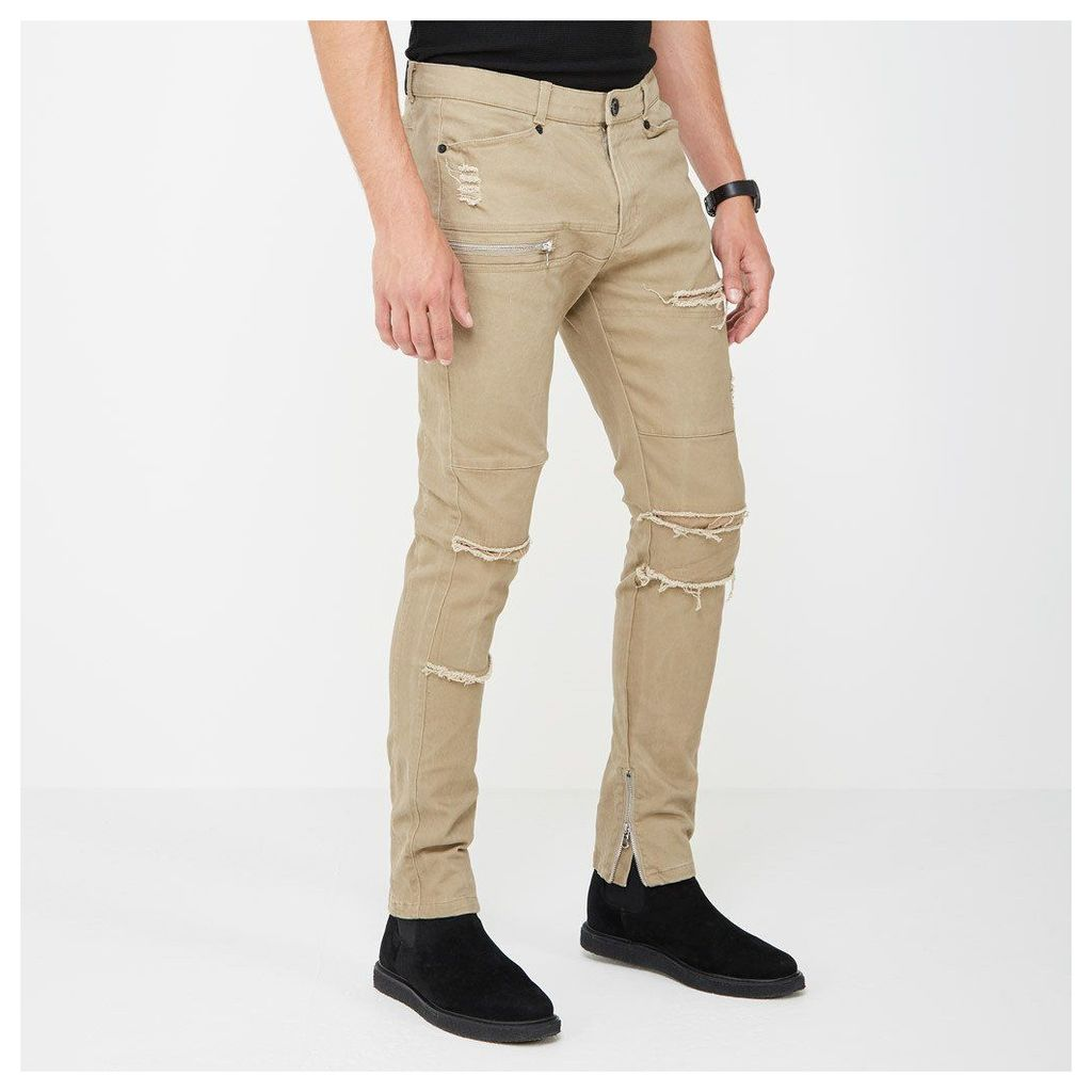 Distressed Zipper Jeans - Beige