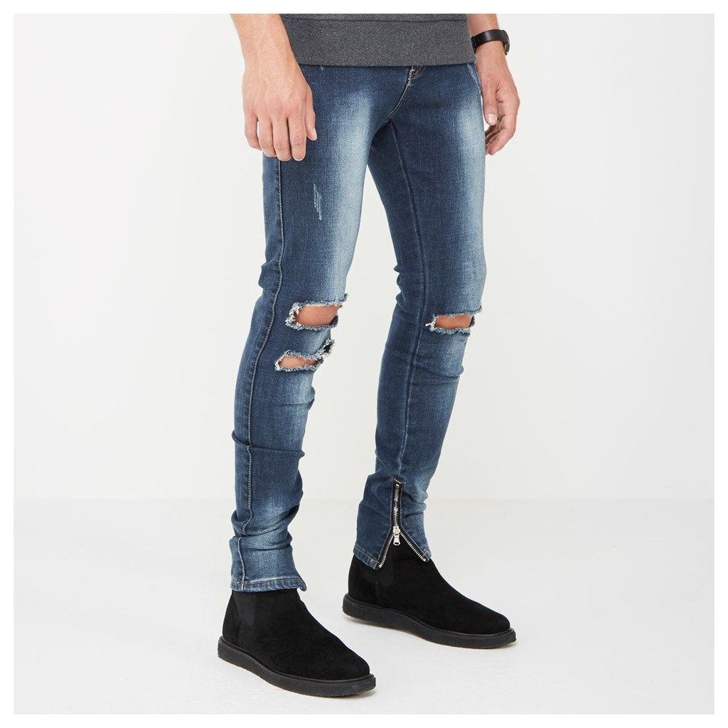Double Ripped Jeans with Zip - Indigo