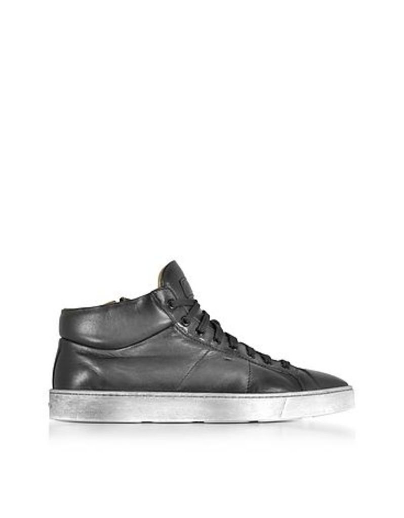 Santoni - Dark Gray Washed Leather High Top Men's Sneakers