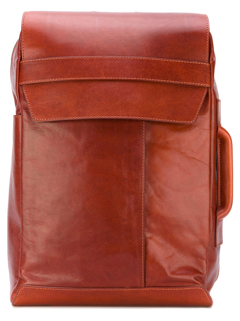 Maison Margiela - flap front backpack - men - Leather - One Size, Brown