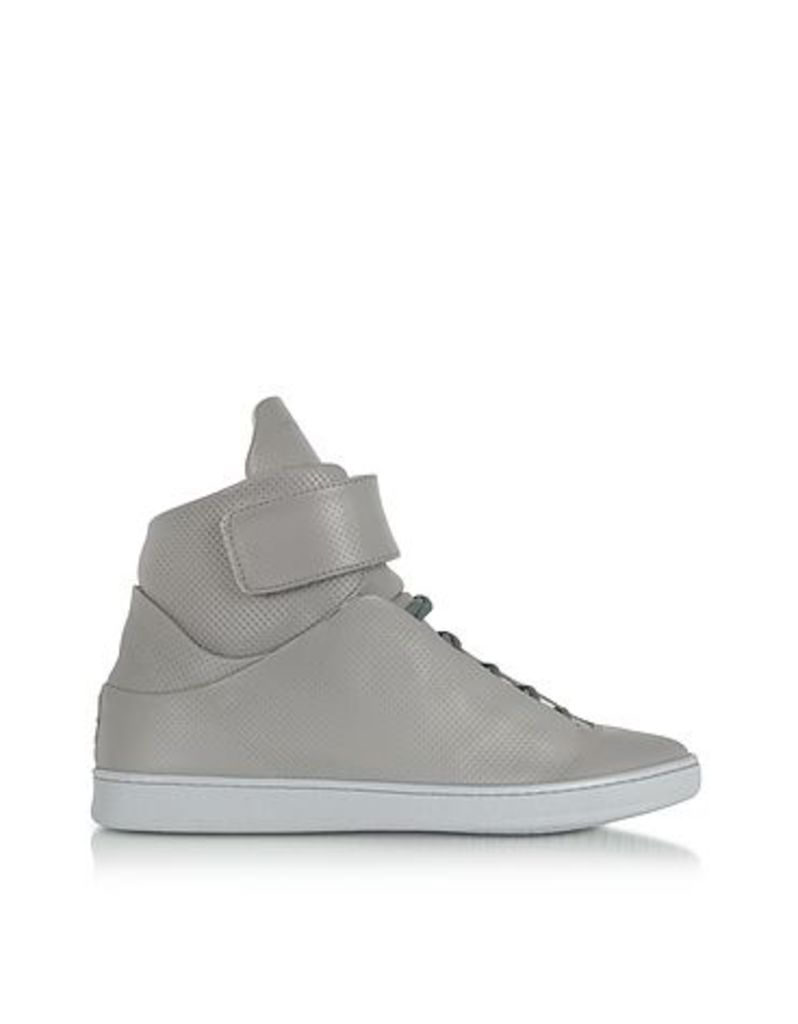 Ylati - Virgilio Grey Perforated Nappa Leather High Top Men's Sneakers